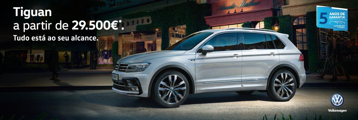 Adquira o Volkswagen Tiguan a partir de 29.500 euros*
